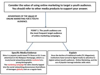 Consider the value of using online marketing to target a youth audience. You should refer to other media products to su
