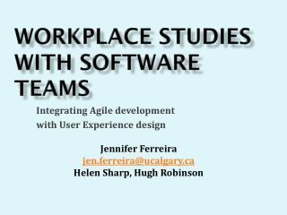Workplace studies with software teams