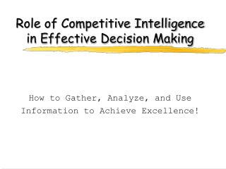 role of competitive intelligence in effective decision making