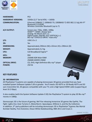 "HARDWARE: PS3 HARDDRIVE VERSIONS: 320Gb (2,5"" Serial ATA)  + 160Gb"
