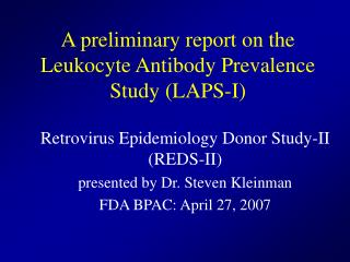 a preliminary report on the leukocyte antibody prevalence study laps-i