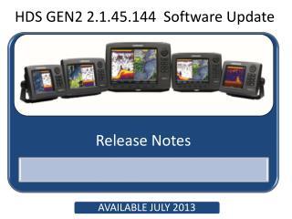 HDS GEN2 2.1.45.144  Software Update