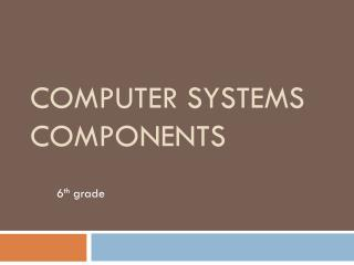 Computer Systems Components