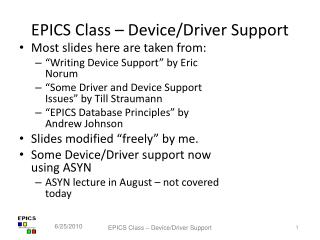 EPICS Class – Device/Driver Support
