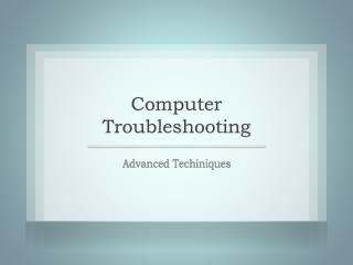 Computer Troubleshooting