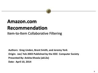 Amazon.com Recommendation Item-to-Item Collaborative Filtering