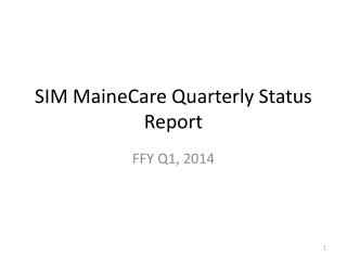 SIM  MaineCare  Quarterly Status Report
