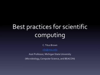 Best practices for scientific computing