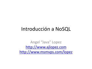 Introducción a NoSQL