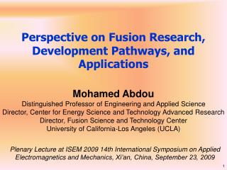 Perspective on Fusion Research, Development Pathways, and Applications