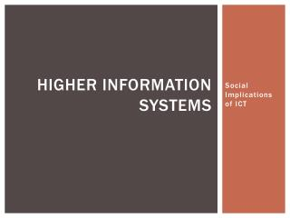 Higher Information Systems