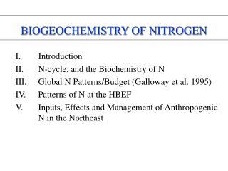 biogeochemistry of nitrogen
