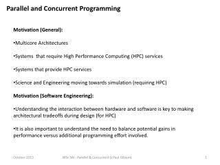 Parallel  and Concurrent  Programming