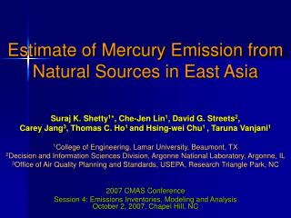 estimate of mercury emission from natural sources in east asia