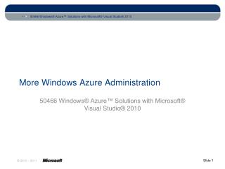 More Windows Azure Administration