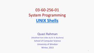 03-60-256-01 System Programming UNIX Shells
