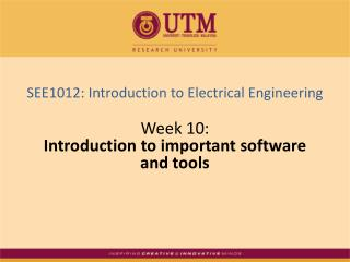Week 10: Introduction to important software  and tools