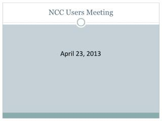 NCC Users Meeting