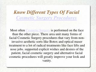 Know Different Types Of Facial Cosmetic Surgery Procedures