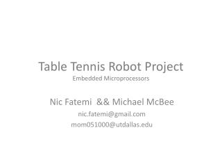 Table Tennis Robot Project