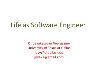 Life as Software Engineer