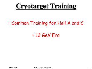 Cryotarget  Training