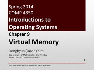Spring  2014 COMP 4850 Introductions to Operating Systems