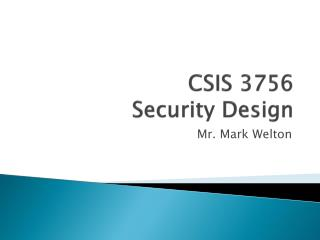 CSIS 3756 Security Design