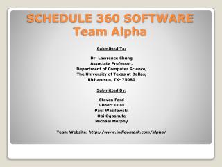 SCHEDULE 360 SOFTWARE Team Alpha