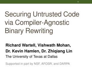 Securing Untrusted Code via Compiler-Agnostic Binary Rewriting