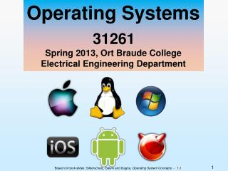 Operating Systems 31261 Spring 2013, Ort Braude College Electrical Engineering Department