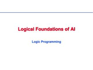 Logical Foundations of AI