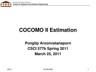 COCOMO II Estimation