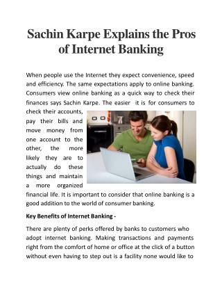 Sachin Karpe Explains the Pros of Internet Banking