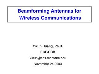 beamforming antennas for   wireless communications