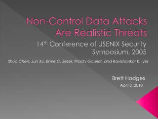 Non-Control Data Attacks Are Realistic Threats