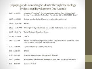 Engaging and Connecting Students Through Technology  Professional Development Day Agenda