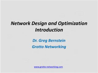 Network Design and Optimization  Introduction