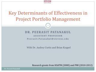 Key Determinants of Effectiveness in Project Portfolio Management