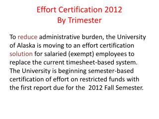 Effort Certification 2012 By Trimester