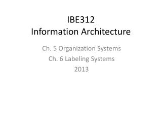 IBE312 Information Architecture
