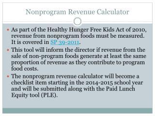 Nonprogram Revenue Calculator
