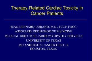 Therapy-Related Cardiac Toxicity in Cancer Patients