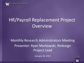 HR/Payroll Replacement Project Overview