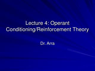 lecture 4: operant conditioning