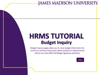 HRMS  TUTORIAL Budget Inquiry