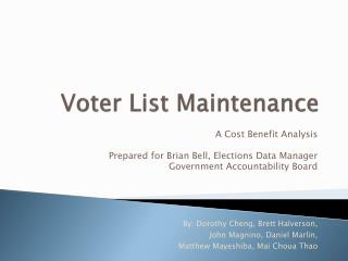 Voter List Maintenance
