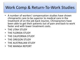 Work Comp & Return-To-Work Studies