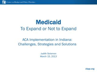 Medicaid To Expand or Not to Expand