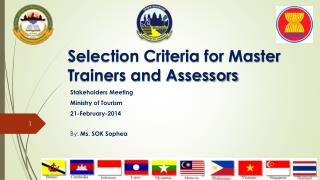 Selection Criteria for Master Trainers and Assessors